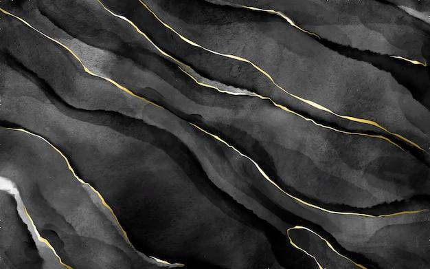 Czarny kamień akwarela ze złotymi żyłkami