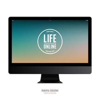Czarny kolor monitora komputera z kolorowym ekranem na białym tle