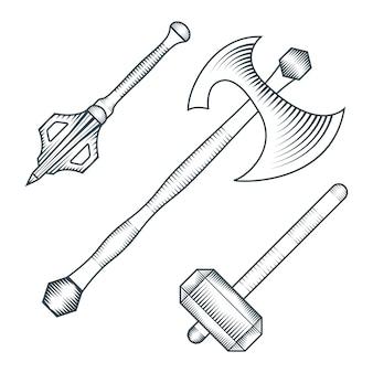 Czarny kolor średniowieczny topór warhammer mace grawerowanie styl ilustracji zestaw białe tło