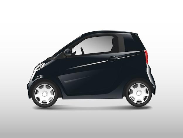Czarny kompaktowy samochód hybrydowy wektor