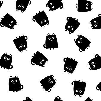 Czarny kot bezszwowe tło wzór. ilustracja wektorowa.