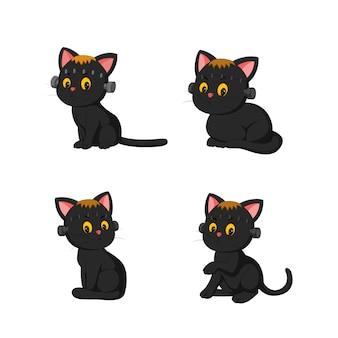 Czarny kot halloween kolekcji