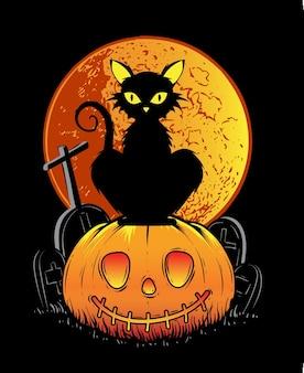 Czarny kot halloween