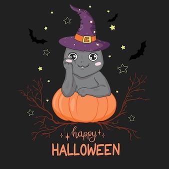 Czarny kot na dyniowej karcie halloween