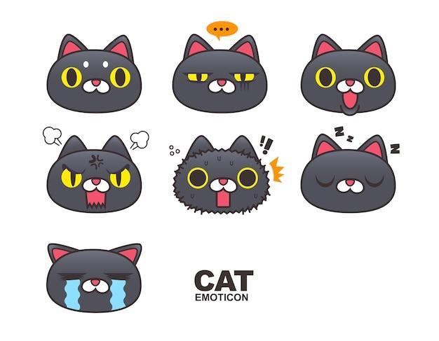 Czarny kot twarz emotikon, emoji, wyrażenia na białym tle.