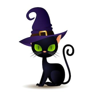 Czarny kot w kapelusz czarownicy