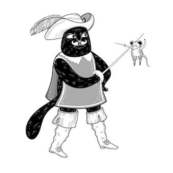 Czarny kot walczy z myszką na miecze muszkieterowie w garniturach śmieszne postacie z kreskówek