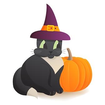 Czarny kot z dynią, element halloween