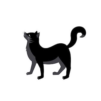 Czarny kot z zakrzywionym grzbietem i podniesionym ogonem. świąteczna dekoracja zwierząt na halloween, jesienne wakacje i design