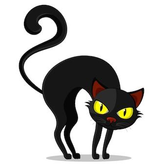 Czarny kot z zakrzywionym tyłem na białym tle, postać. halloween
