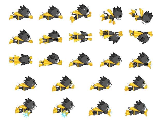 Czarny kot z żółtymi przylądkami sprites gry