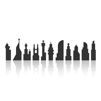 Czarny krajobraz miasta z cieniem. koncepcja megalopolis, turystyka, futurystyczna metropolia, tapeta, gmina. na białym tle. płaski trend nowoczesny projekt logo ilustracja wektorowa