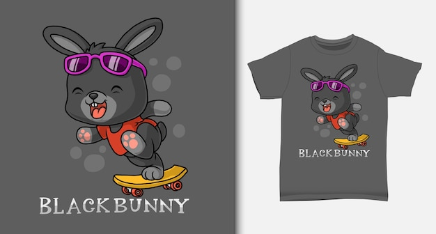 Czarny królik gra na deskorolce. z projektem koszulki.