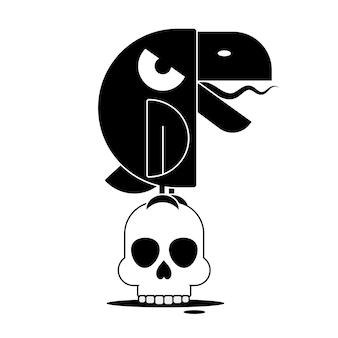 Czarny kruk na białym tle. ręcznie rysowane wrona.