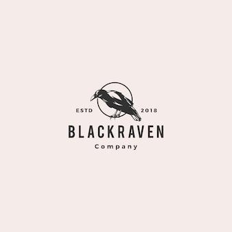 Czarny kruk wrona logo hipster