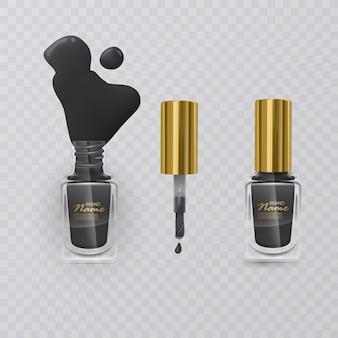 Czarny lakier do paznokci ze złotą skuwką