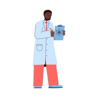 Czarny lekarz lub naukowiec w fartuchu, piszący notatki w schowku