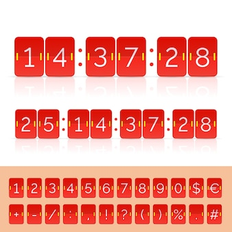 Czarny licznik czasu i numery tablicy wyników. ilustracja wektorowa eps10