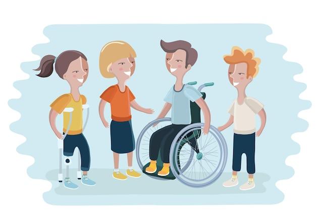 Czarny lub afroamerykanin mężczyzna i kobieta na wózku inwalidzkim