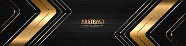 Czarny luksusowy abstrakcyjny szeroki poziomy baner