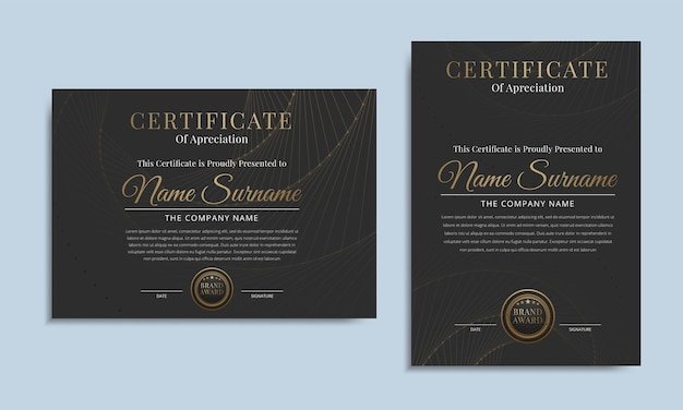 Czarny luksusowy certyfikat szablonu osiągnięć ze złotą odznaką nagrody