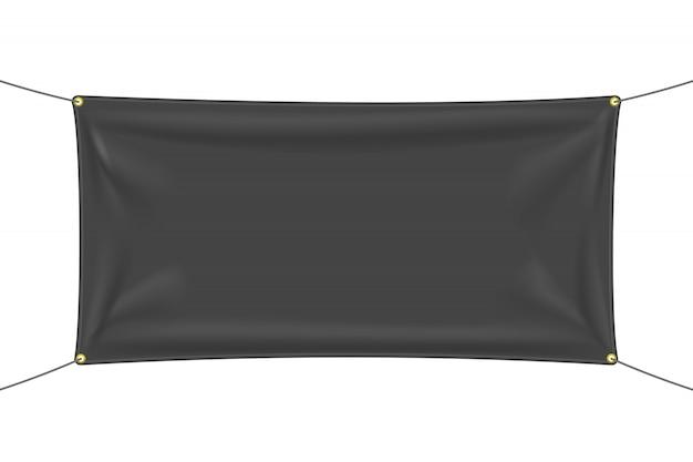 Czarny materiał z zakładkami