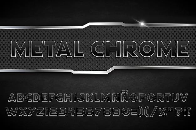 Czarny metal typografia chrom
