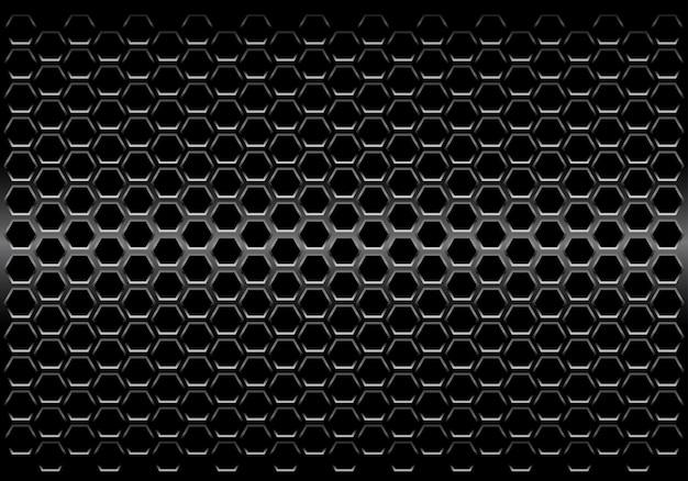 Czarny metalik sześciokąt siatki wzór tła