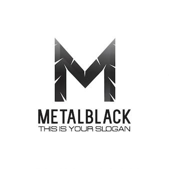 Czarny metallic litera m logo