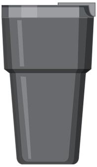 Czarny metalowy kubek na wodę na białym tle