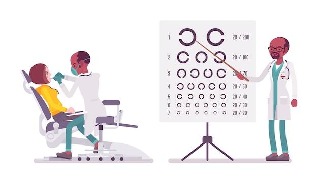Czarny mężczyzna dentysta i okulista