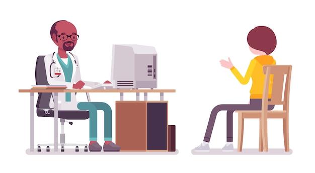 Czarny mężczyzna lekarz terapeuta konsultacji pacjenta transparent