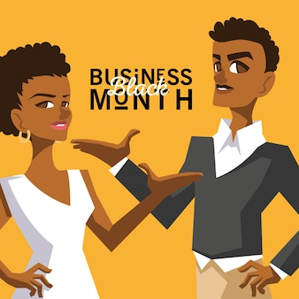 Czarny miesiąc biznesowy z afro kobietą i mężczyzną kreskówkami równości ekonomicznej i ilustracji tematu świętowania