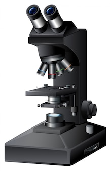 Czarny mikroskop na białym backgroung