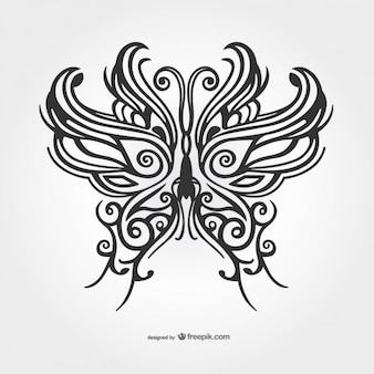 Czarny motyl tatuaż wektor