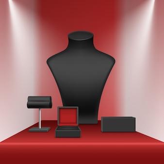 Czarny naszyjnik kolczyki i bransoletka stojak na biżuterię z pudełkiem