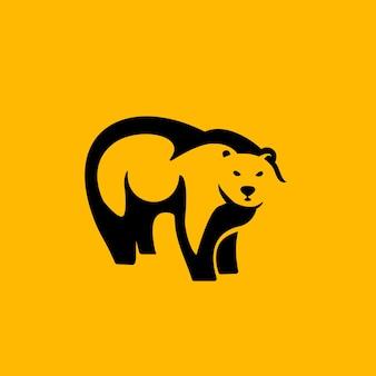 Czarny niedźwiedź logo negatywnej przestrzeni