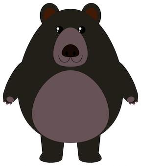 Czarny niedźwiedź na białym tle