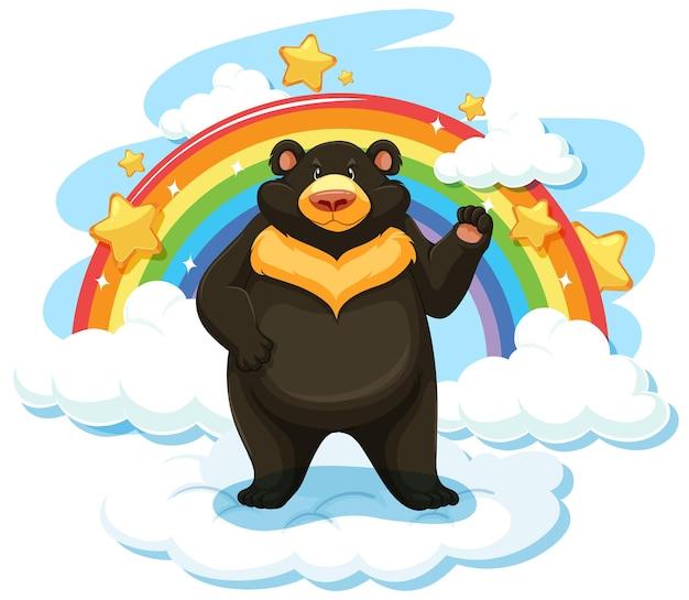Czarny niedźwiedź na chmurze z tęczą
