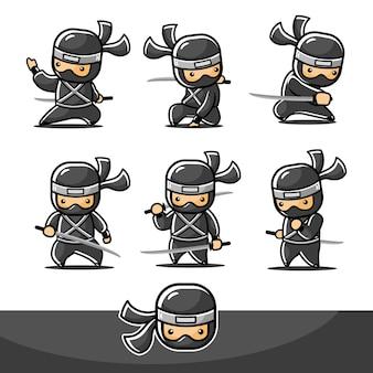 Czarny ninja little cartoon z sześcioma różnymi ruchami.