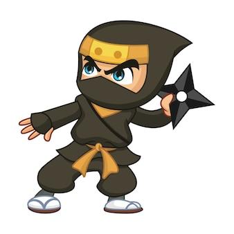 Czarny ninja z shuriken