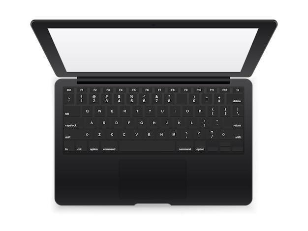Czarny nowoczesny laptop na białym tle. widok z góry