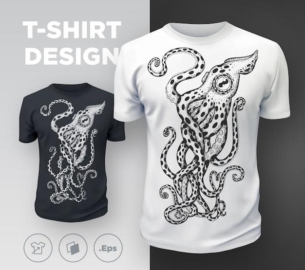Czarny, nowoczesny t-shirt z nadrukiem w ośmiornicę. .
