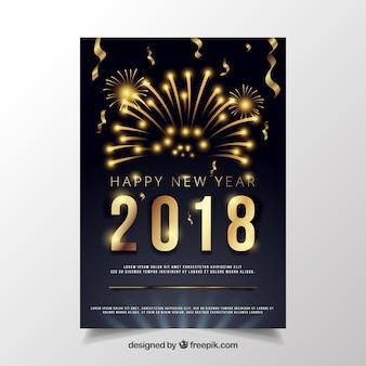 Czarny nowy rok party plakat ze złotymi cyframi i fajerwerkami