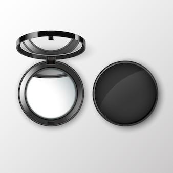Czarny okrągły kosmetyk kieszonkowy tworzą małe lusterko na białym tle