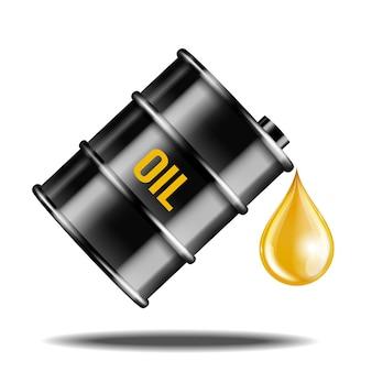 Czarny olej beczka z kroplą oleju na białym tle. żółty kropla oleju kapiąca z czarnej beczki. realistyczne obiekty z cieniami. ilustracja wektorowa