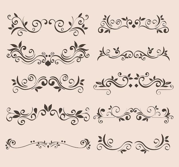 Czarny ornament na białym tle motywu elementu dekoracyjnego
