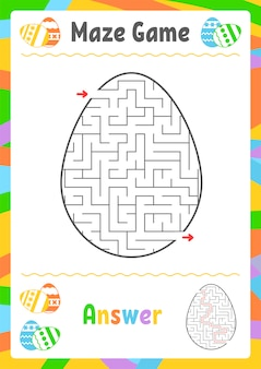 Czarny owalny labirynt. arkusze dla dzieci. strona aktywności. gra logiczna dla dzieci. jajko, wakacje, wielkanoc.