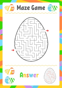 Czarny owalny labirynt. arkusze dla dzieci. strona aktywności. gra logiczna dla dzieci.