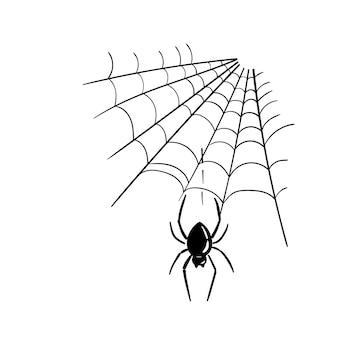 Czarny pająk i jego ilustracja atramentem netto. element projektu halloween wektor.